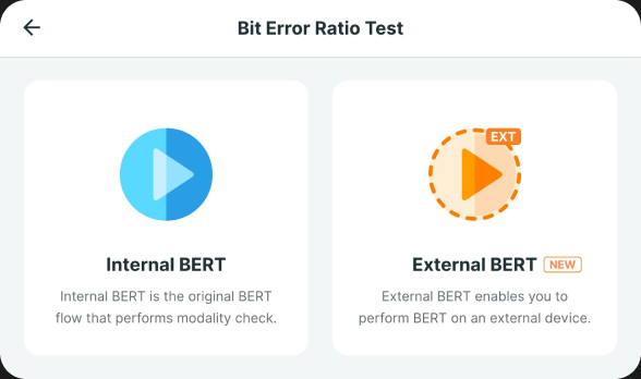 Sensus device's tester feature displaying internal and external BERT options to test a port on 3rd party device or on sensus