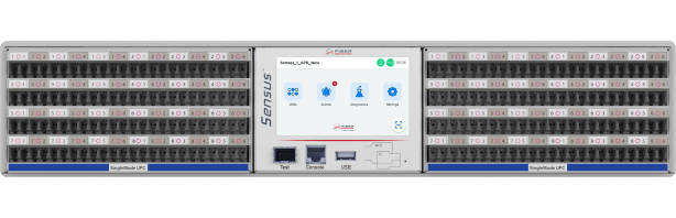 White Sensus patch panel with 48 front ports compatible with singlemode UPC cables. It has an LCD, NFC & builtin test tools.