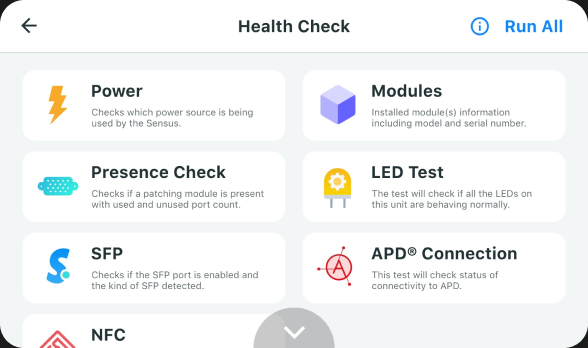 New health examination feature to test power, modules, presence check, LED test, SFP, NFC & connectivity using Sensus LCD