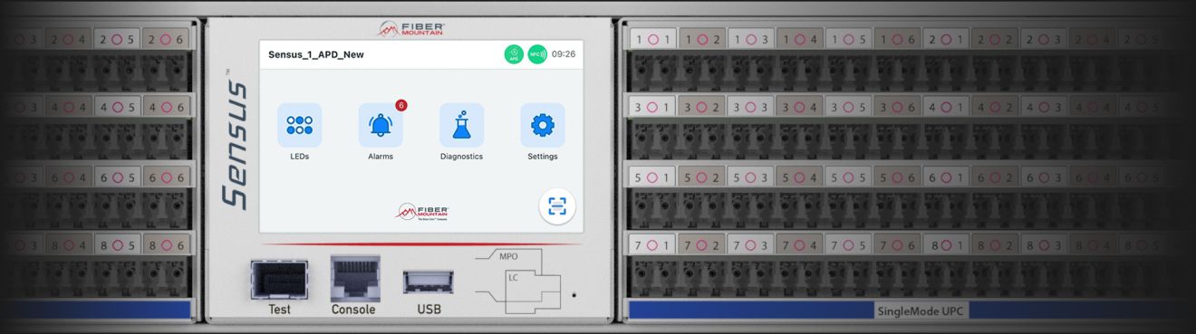 LCD screen on Sensus patch panel displaying shortcuts to LEDs, alarms, diagnostics & settings option themed in blue
