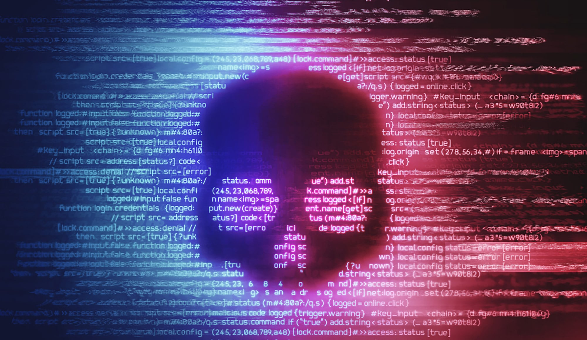 Image of a skull shadow over code to depict ransomware.